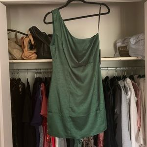 Lulu's one shoulder satin green zip dress